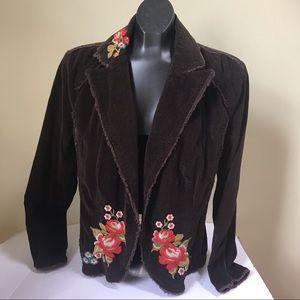 Kikit Jeans Stretch Corduroy Floral Embroidered Jacket Blazer Boho Raw Edge XL